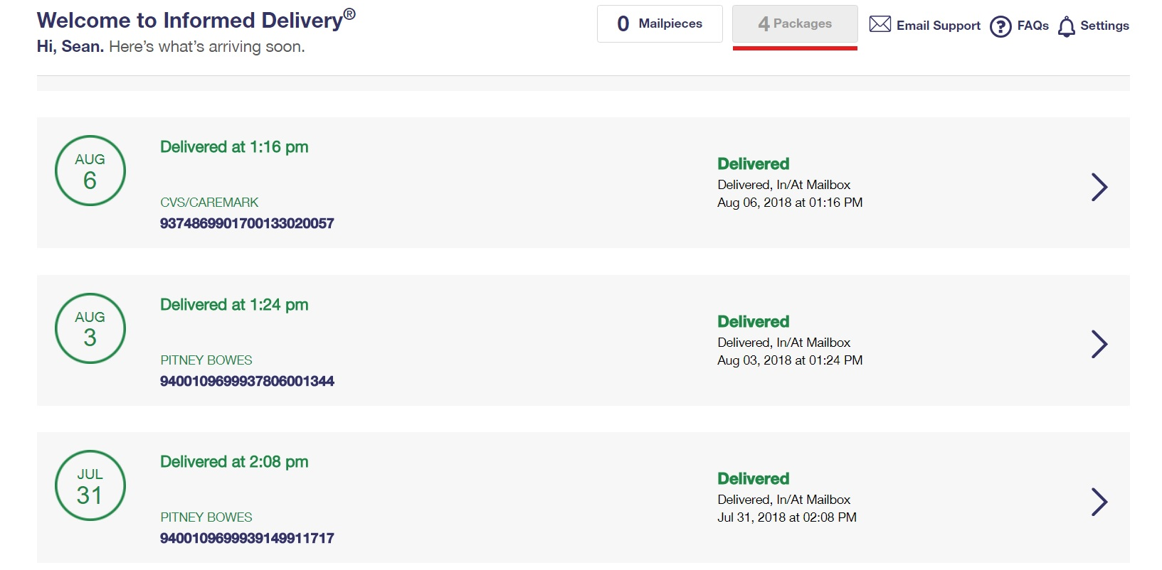 Informed delivery account example